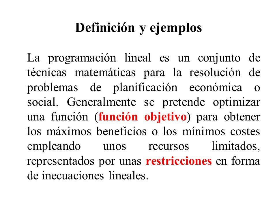 Definición y ejemplos La programación lineal es un conjunto de técnicas matemáticas para la resolución de problemas de planificación económica o socia