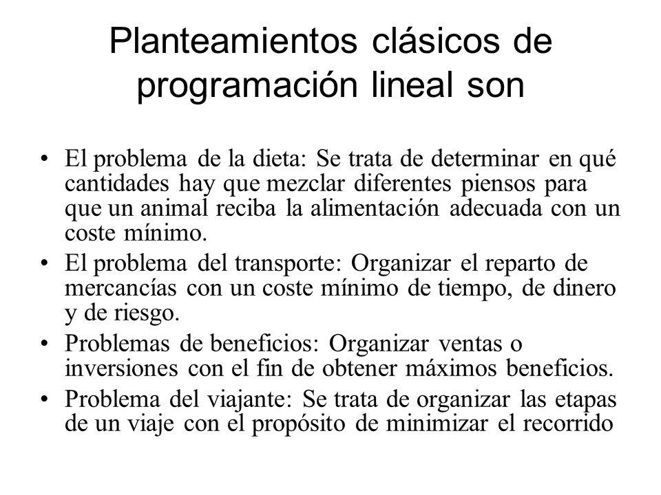 Planteamientos clásicos de programación lineal son El problema de la dieta: Se trata de determinar en qué cantidades hay que mezclar diferentes pienso
