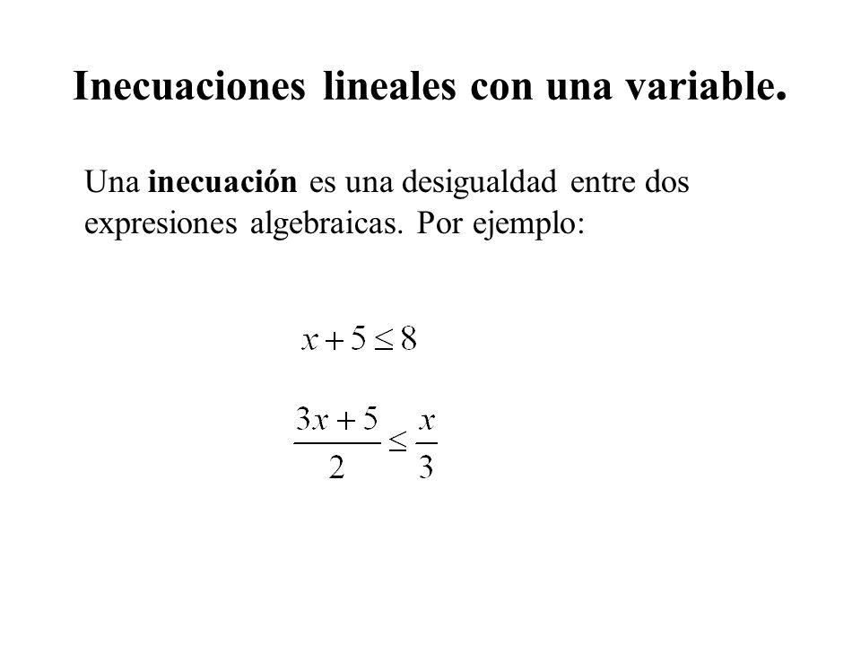Inecuaciones lineales con una variable. Una inecuación es una desigualdad entre dos expresiones algebraicas. Por ejemplo: