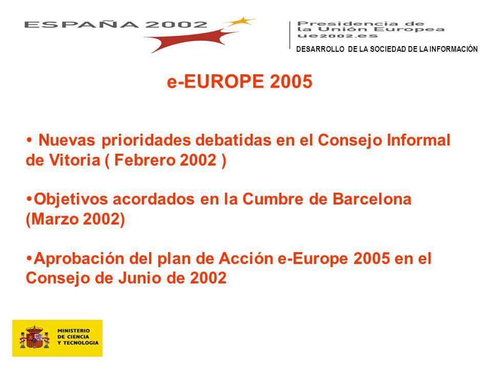 e-EUROPE 2005 Nuevas prioridades debatidas en el Consejo Informal de Vitoria ( Febrero 2002 ) Objetivos acordados en la Cumbre de Barcelona (Marzo 2002) Aprobación del plan de Acción e-Europe 2005 en el Consejo de Junio de 2002 DESARROLLO DE LA SOCIEDAD DE LA INFORMACIÓN