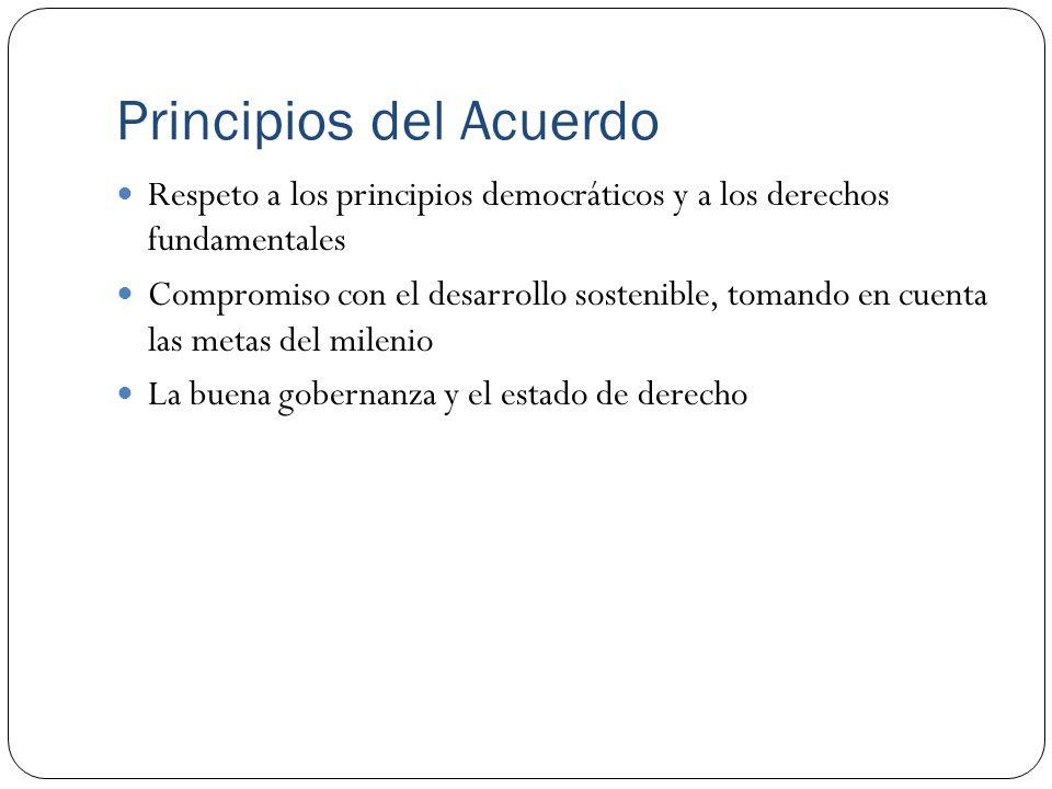 Principios del Acuerdo Respeto a los principios democráticos y a los derechos fundamentales Compromiso con el desarrollo sostenible, tomando en cuenta