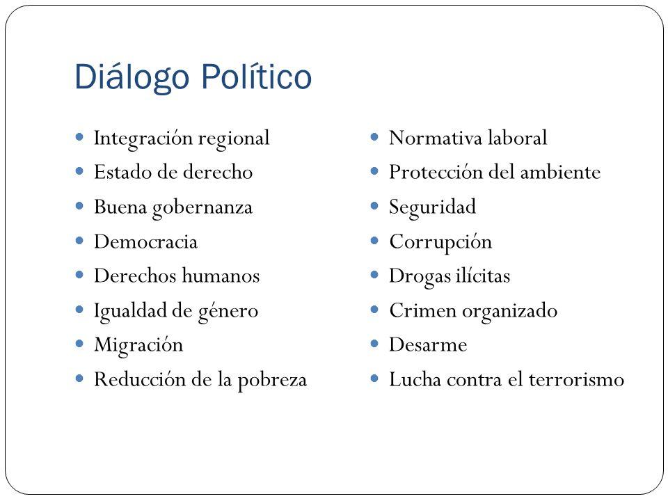 Diálogo Político Integración regional Estado de derecho Buena gobernanza Democracia Derechos humanos Igualdad de género Migración Reducción de la pobr
