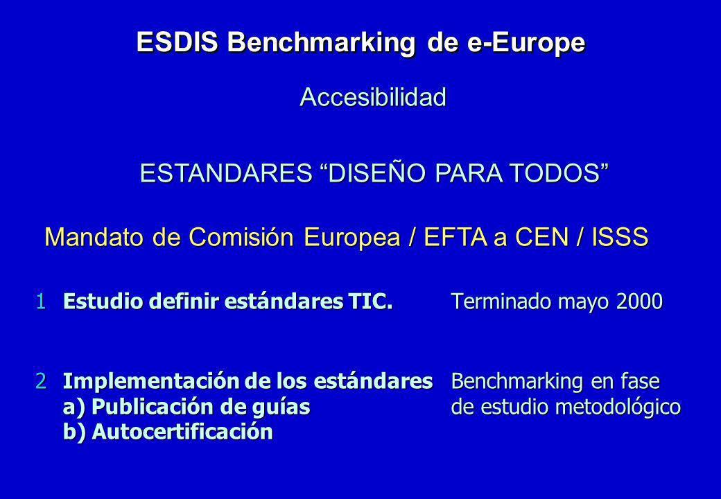 1Estudio definir estándares TIC.Terminado mayo 2000 2Implementación de los estándaresBenchmarking en fase a) Publicación de guíasde estudio metodológi