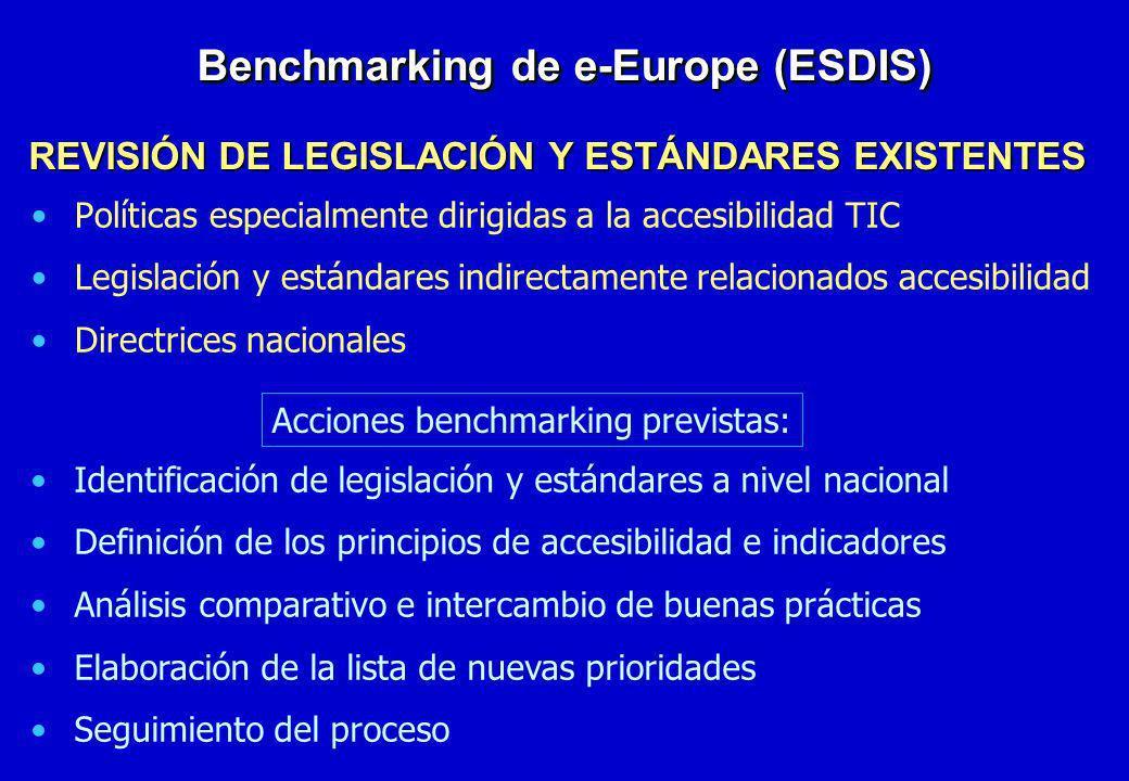 Políticas especialmente dirigidas a la accesibilidad TIC Legislación y estándares indirectamente relacionados accesibilidad Directrices nacionales Ben