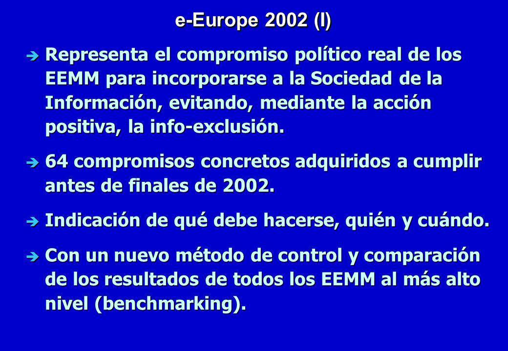 è Representa el compromiso político real de los EEMM para incorporarse a la Sociedad de la Información, evitando, mediante la acción positiva, la info