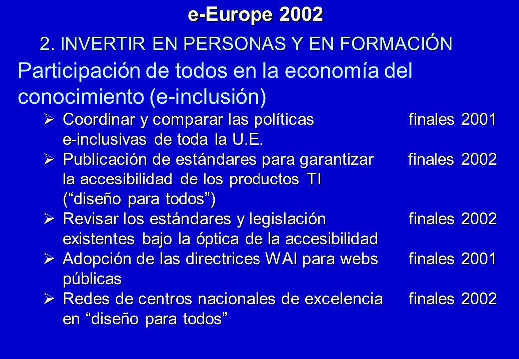 Participación de todos en la economía del conocimiento (e-inclusión) Coordinar y comparar las políticas finales 2001 Coordinar y comparar las política