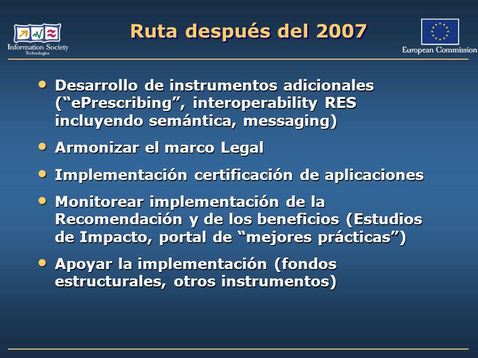 Ruta después del 2007 Desarrollo de instrumentos adicionales (ePrescribing, interoperability RES incluyendo semántica, messaging) Desarrollo de instru