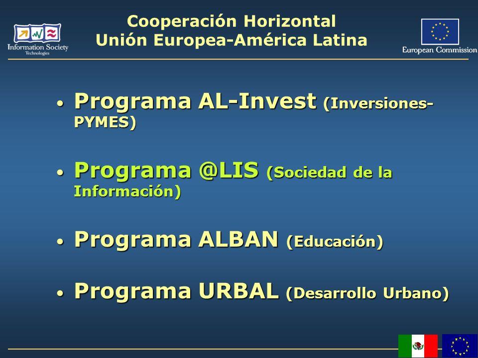 Cooperación Horizontal Unión Europea-América Latina Programa AL-Invest (Inversiones- PYMES) Programa AL-Invest (Inversiones- PYMES) Programa @LIS (Soc