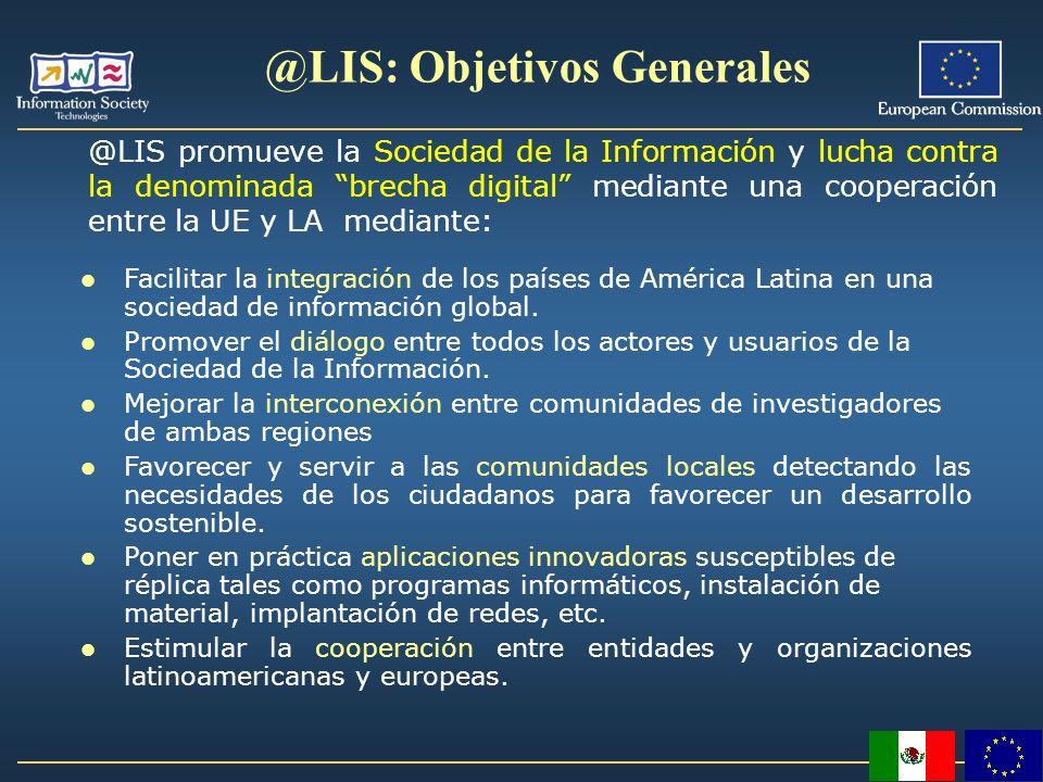 Facilitar la integración de los países de América Latina en una sociedad de información global. Promover el diálogo entre todos los actores y usuarios