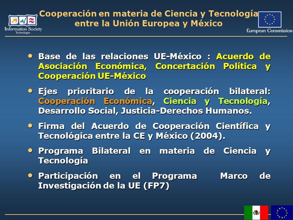 Cooperación en materia de Ciencia y Tecnología entre la Unión Europea y México Base de las relaciones UE-México : Acuerdo de Asociación Económica, Con