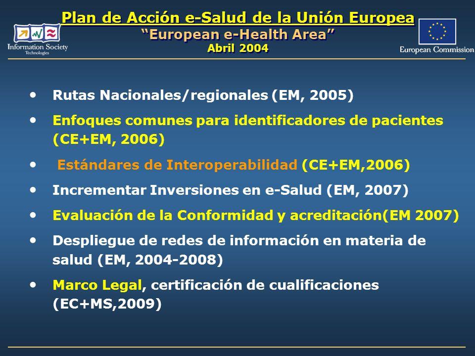 Plan de Acción e-Salud de la Unión Europea European e-Health Area Abril 2004 Rutas Nacionales/regionales (EM, 2005) Enfoques comunes para identificado