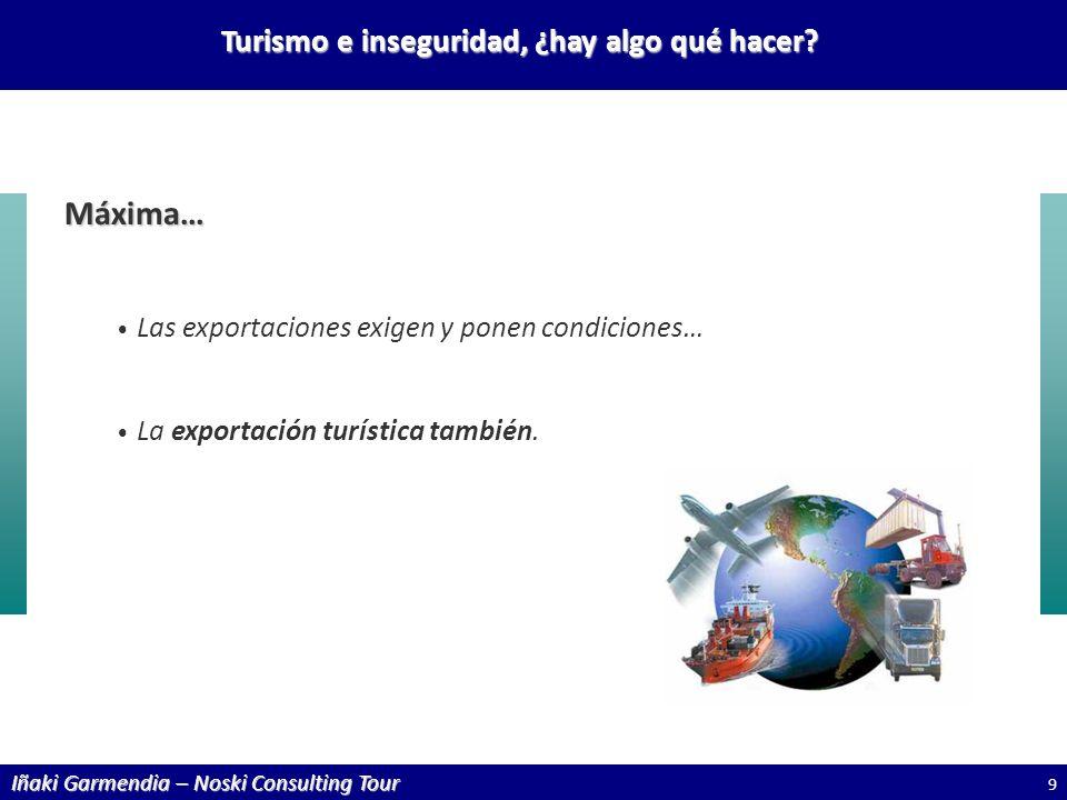 Iñaki Garmendia – Noski Consulting Tour Turismo e inseguridad, ¿hay algo qué hacer? Máxima… Las exportaciones exigen y ponen condiciones… La exportaci