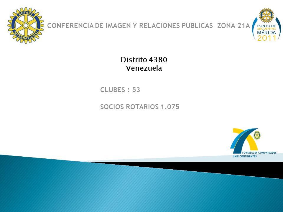 Distrito 4380 Venezuela CLUBES : 53 SOCIOS ROTARIOS 1.075 CONFERENCIA DE IMAGEN Y RELACIONES PUBLICAS ZONA 21A