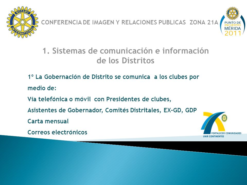 1. Sistemas de comunicación e información de los Distritos 1º La Gobernación de Distrito se comunica a los clubes por medio de: Vía telefónica o móvil