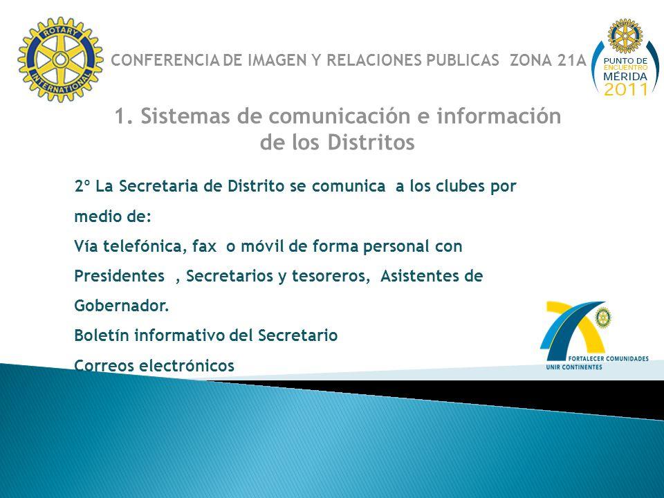 1. Sistemas de comunicación e información de los Distritos 2º La Secretaria de Distrito se comunica a los clubes por medio de: Vía telefónica, fax o m
