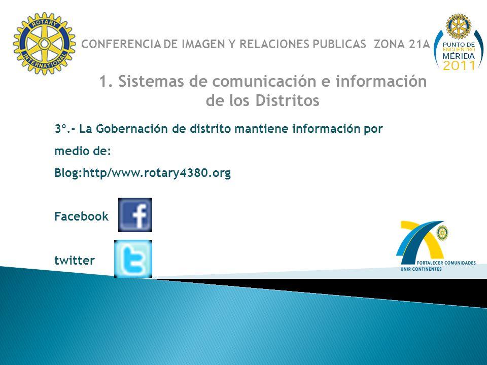 1. Sistemas de comunicación e información de los Distritos 3º.- La Gobernación de distrito mantiene información por medio de: Blog:http/www.rotary4380