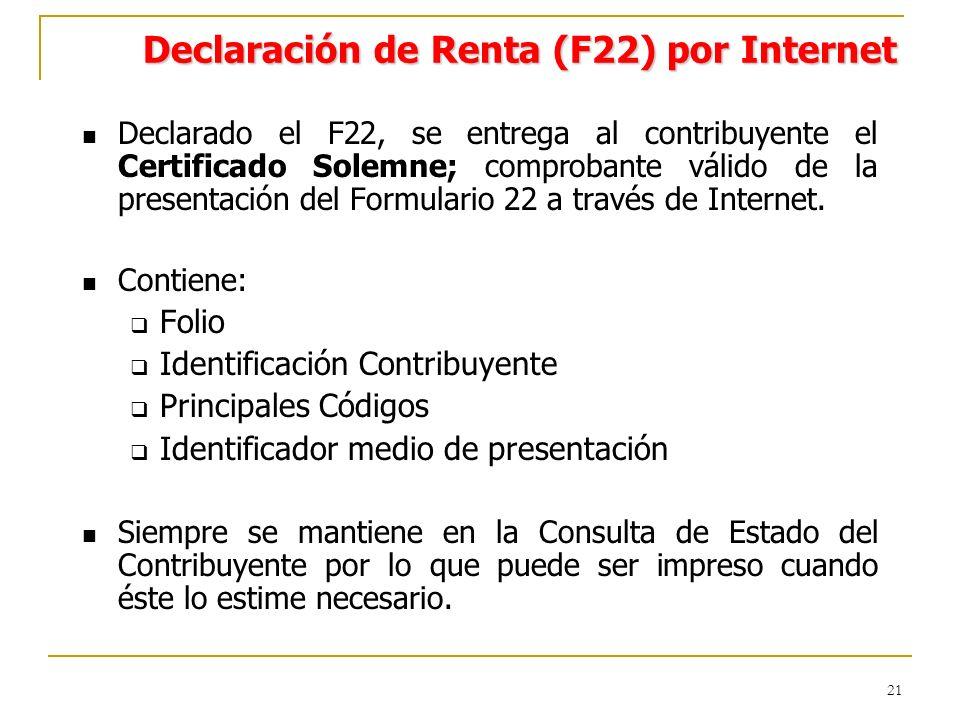 21 Declarado el F22, se entrega al contribuyente el Certificado Solemne; comprobante válido de la presentación del Formulario 22 a través de Internet.