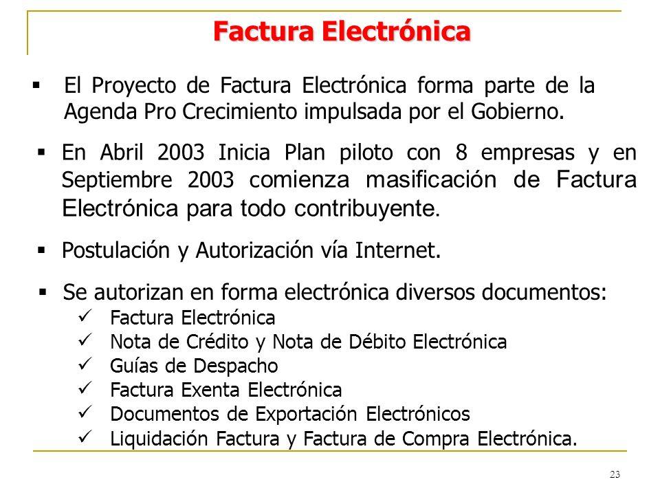 23 Factura Electrónica El Proyecto de Factura Electrónica forma parte de la Agenda Pro Crecimiento impulsada por el Gobierno.