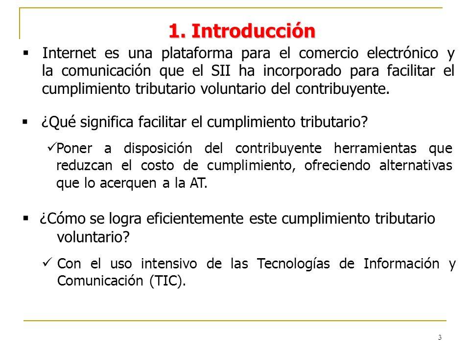 3 1. Introducción Internet es una plataforma para el comercio electrónico y la comunicación que el SII ha incorporado para facilitar el cumplimiento t