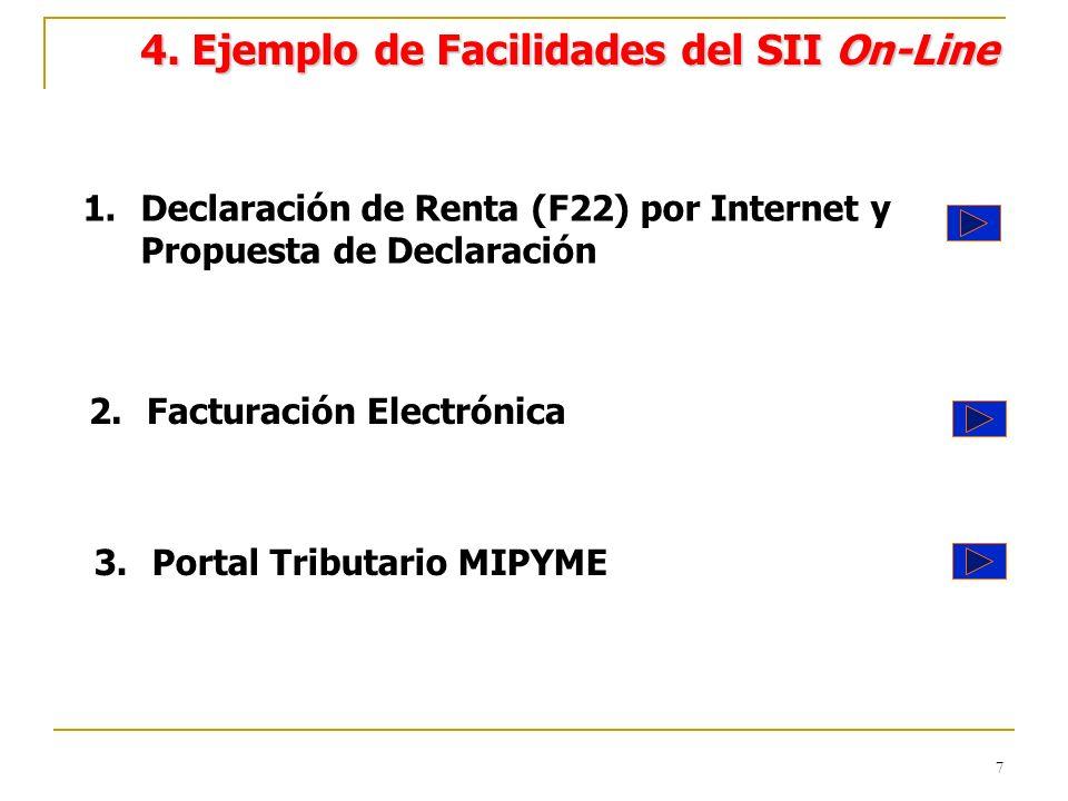 7 4. Ejemplo de Facilidades del SII On-Line 1.Declaración de Renta (F22) por Internet y Propuesta de Declaración 2.Facturación Electrónica 3.Portal Tr
