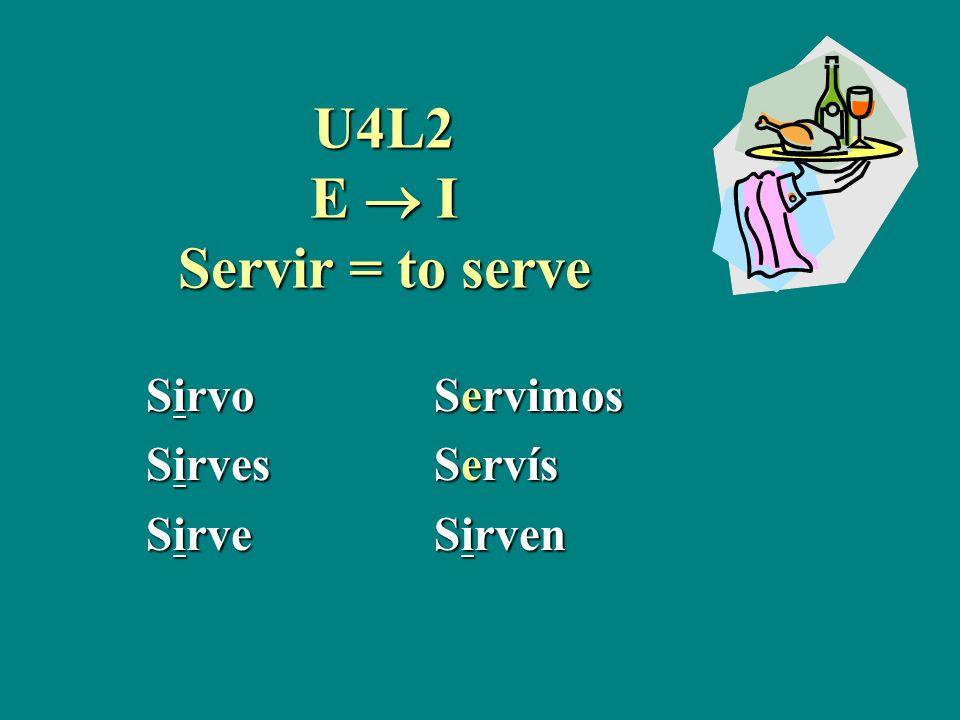 U4L2 E I Servir = to serve SirvoServimos SirvesServís SirveSirven