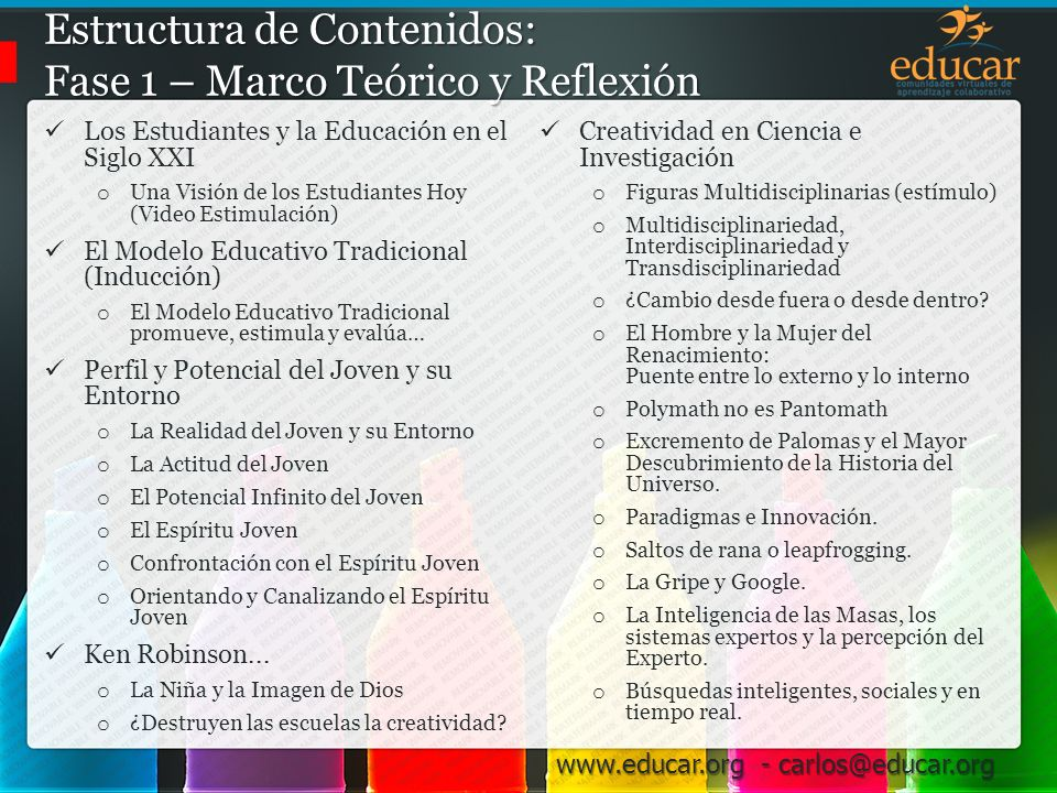 www.educar.org - carlos@educar.org 4.Análisis de la Situación Estructura Organización en grupos.
