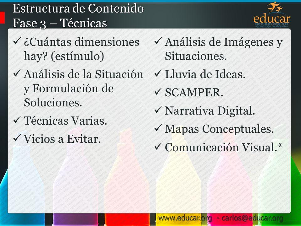 www.educar.org - carlos@educar.org Análisis de la Situación y Formulación de Soluciones Pasos… Especificar el problema: – Situación actual y Situación esperada.