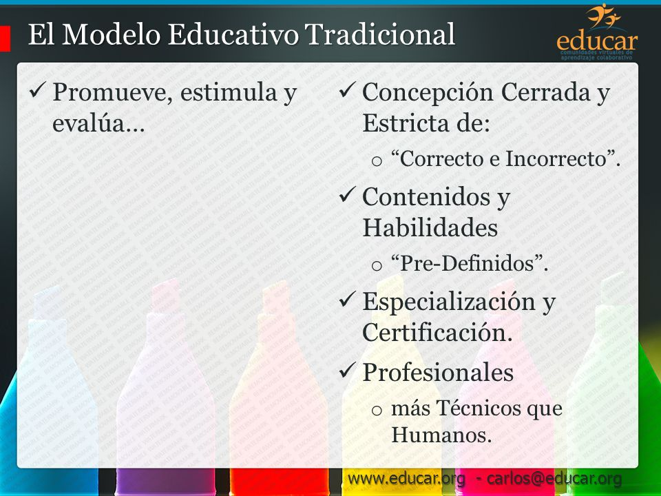 www.educar.org - carlos@educar.org El Modelo Educativo Tradicional promueve, estimula y evalúa… Concepción Cerrada y Estricta de lo Correcto e Incorrecto.