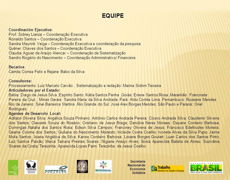 Secretaria Nacional de Economia Solidária EQUIPE Coordinación Ejecutiva: Prof.