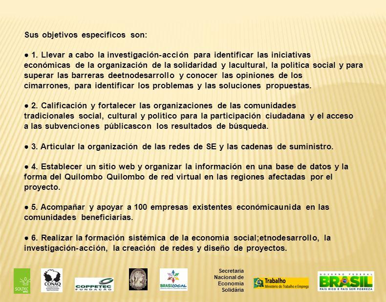 Secretaria Nacional de Economia Solidária Sus objetivos específicos son: 1.