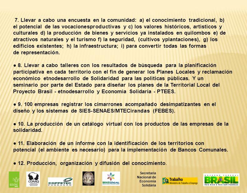 Secretaria Nacional de Economia Solidária 7.