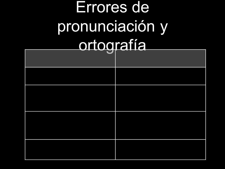 Errores de pronunciación y ortografía