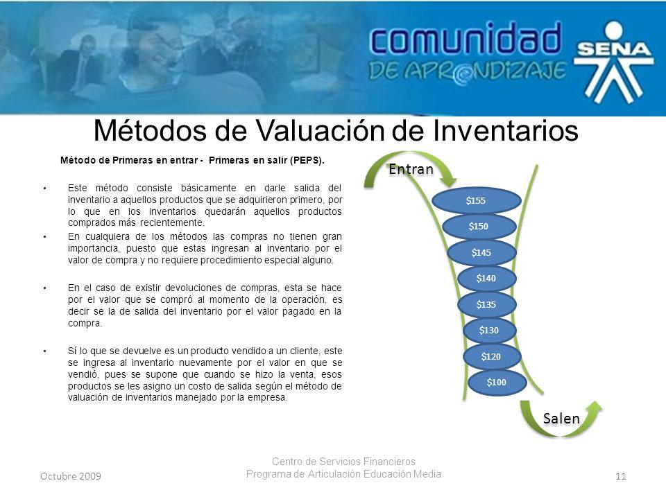 Métodos de Valuación de Inventarios Método de Primeras en entrar - Primeras en salir (PEPS). Este método consiste básicamente en darle salida del inve