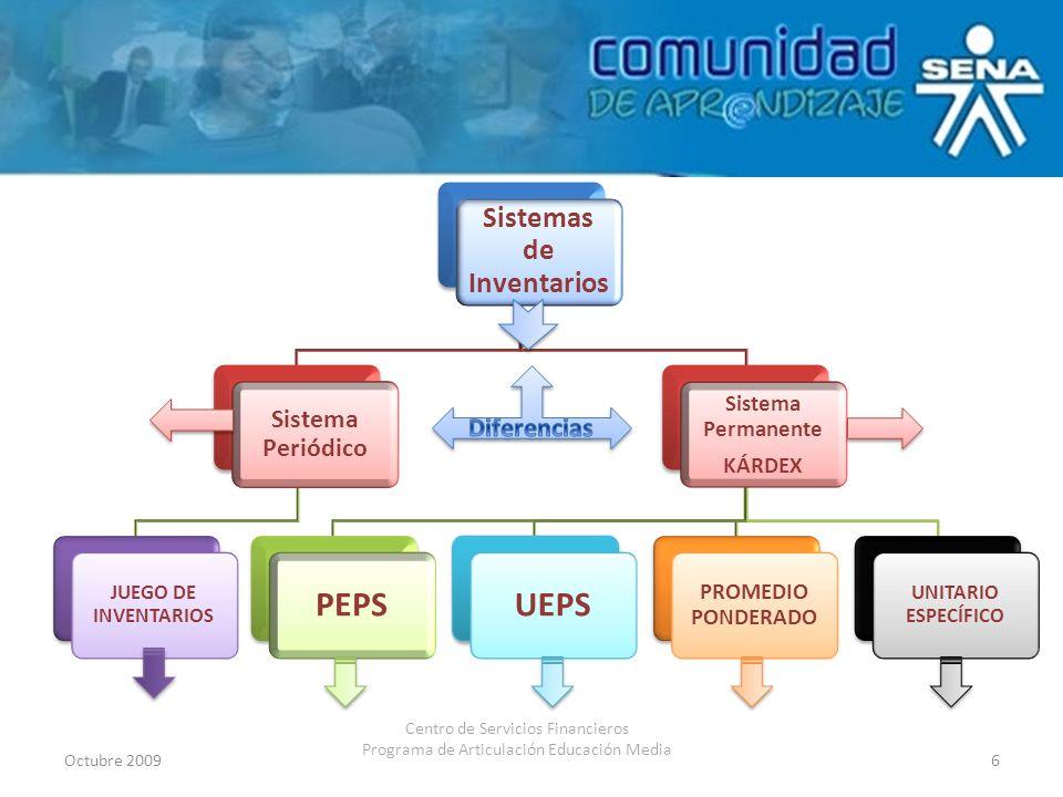 Octubre 20096 Centro de Servicios Financieros Programa de Articulación Educación Media Sistemas de Inventarios Sistema Periódico JUEGO DE INVENTARIOS