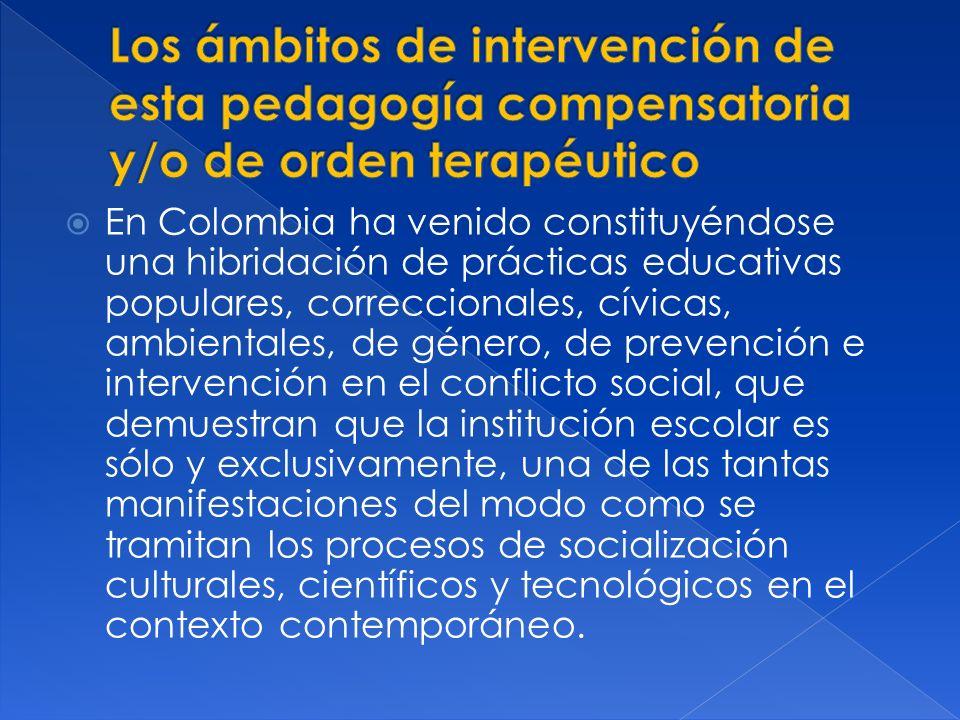 En Colombia ha venido constituyéndose una hibridación de prácticas educativas populares, correccionales, cívicas, ambientales, de género, de prevenció