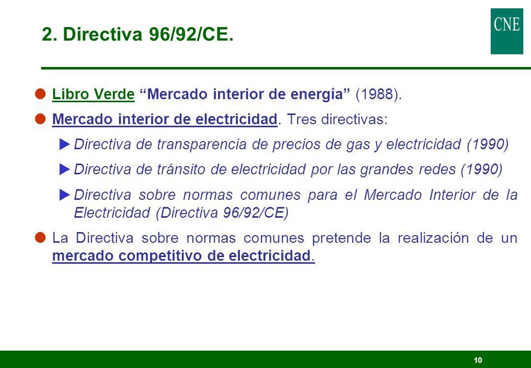 10 2. Directiva 96/92/CE. Libro Verde Mercado interior de energía (1988). Mercado interior de electricidad. Tres directivas: Directiva de transparenci