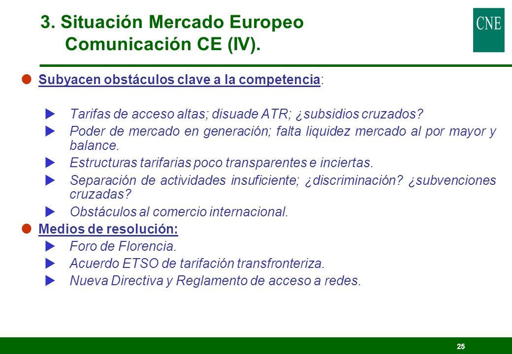 25 Subyacen obstáculos clave a la competencia: Tarifas de acceso altas; disuade ATR; ¿subsidios cruzados? Poder de mercado en generación; falta liquid