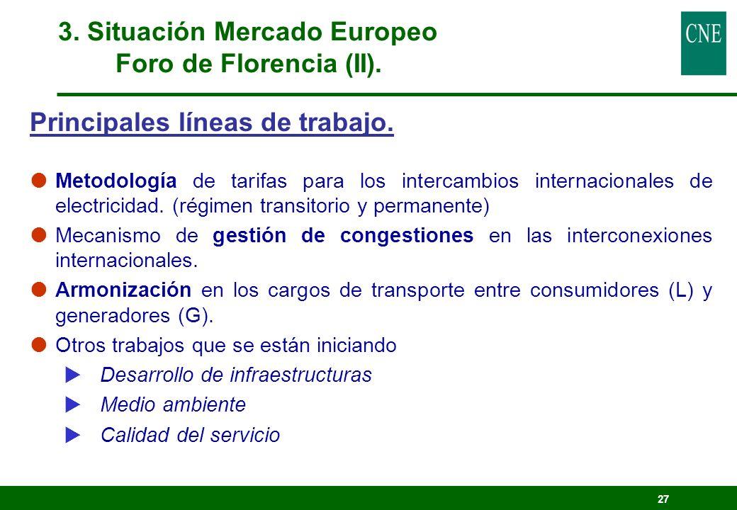 27 Principales líneas de trabajo. Metodología de tarifas para los intercambios internacionales de electricidad. (régimen transitorio y permanente) Mec