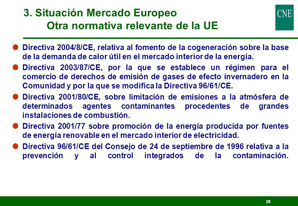 28 Directiva 2004/8/CE, relativa al fomento de la cogeneración sobre la base de la demanda de calor útil en el mercado interior de la energía. Directi