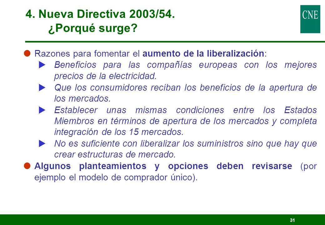 31 Razones para fomentar el aumento de la liberalización: Beneficios para las compañías europeas con los mejores precios de la electricidad. Que los c