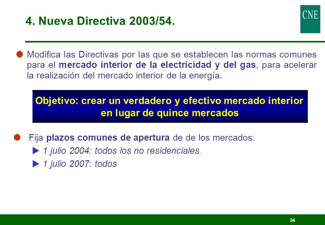 34 Modifica las Directivas por las que se establecen las normas comunes para el mercado interior de la electricidad y del gas, para acelerar la realiz