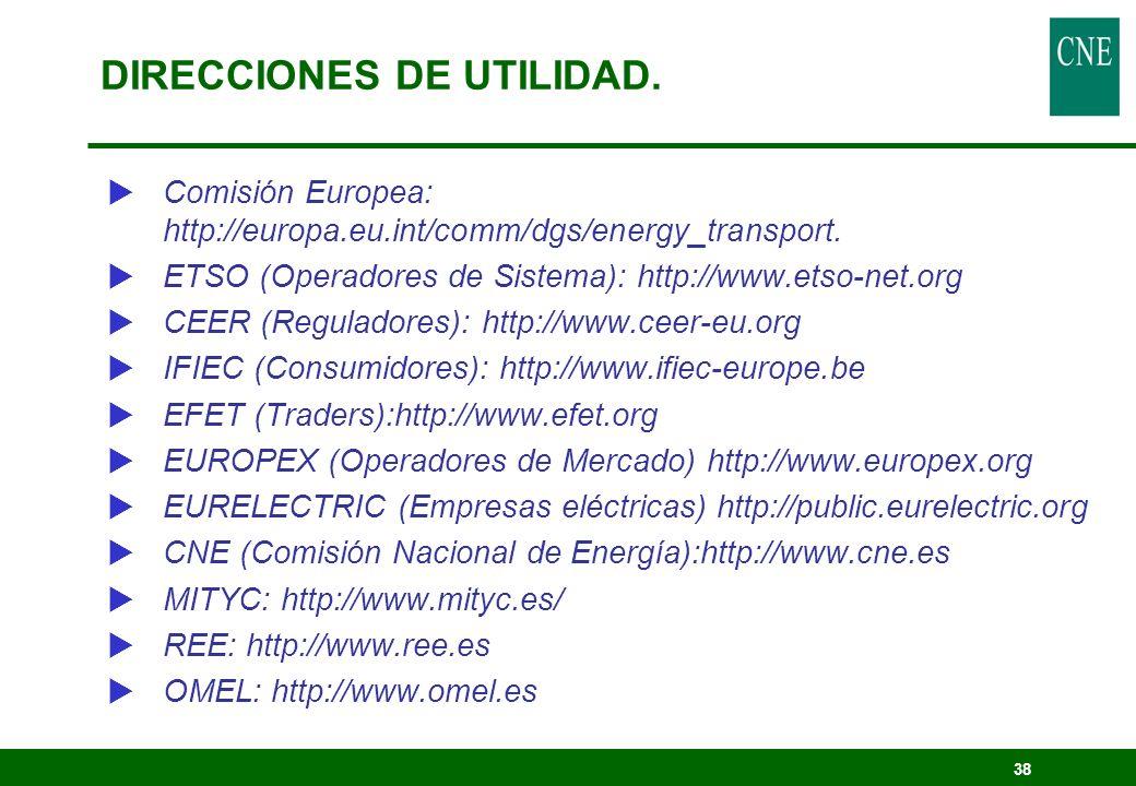 38 Comisión Europea: http://europa.eu.int/comm/dgs/energy_transport. ETSO (Operadores de Sistema): http://www.etso-net.org CEER (Reguladores): http://