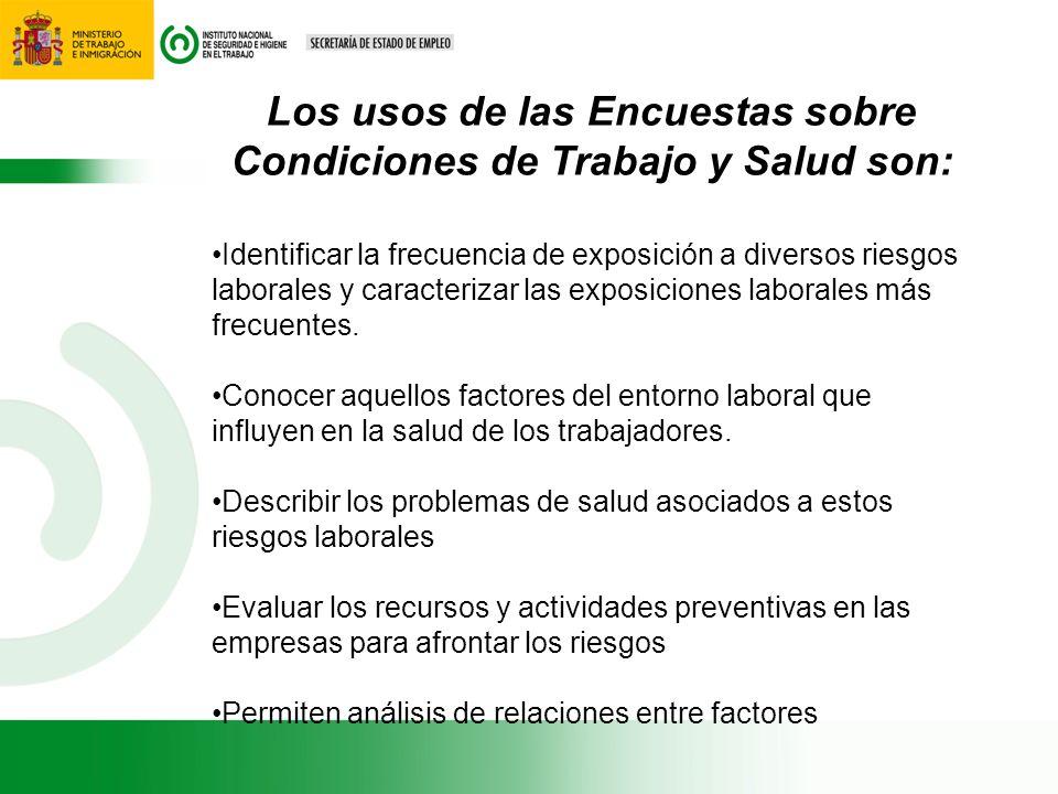 Los usos de las Encuestas sobre Condiciones de Trabajo y Salud son: Identificar la frecuencia de exposición a diversos riesgos laborales y caracteriza