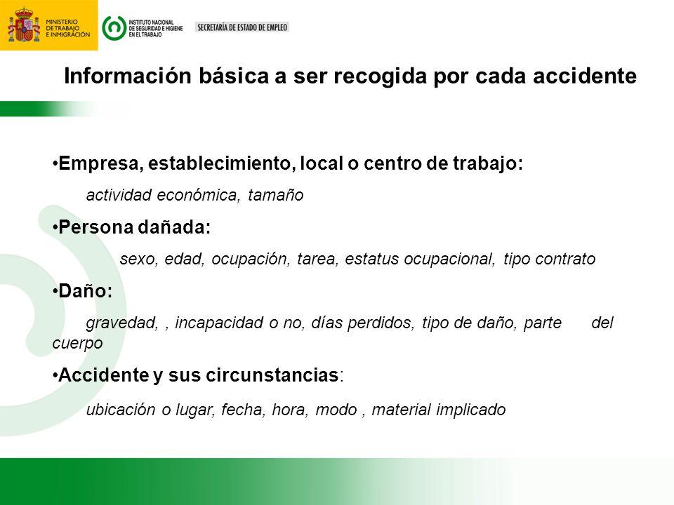 Información básica a ser recogida por cada accidente Empresa, establecimiento, local o centro de trabajo: actividad económica, tamaño Persona dañada: