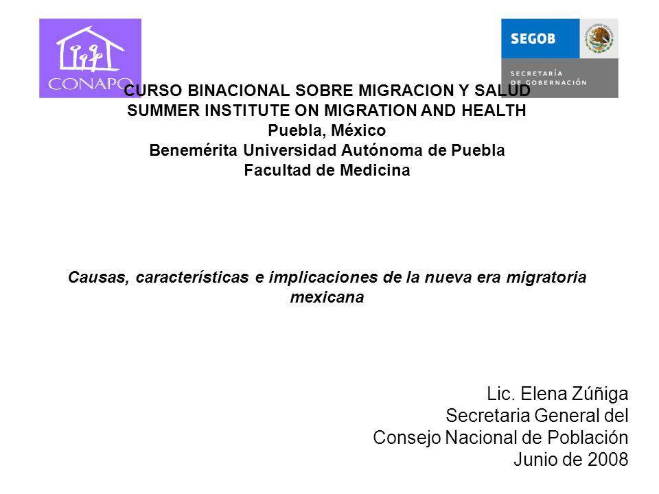 Lic. Elena Zúñiga Secretaria General del Consejo Nacional de Población Junio de 2008 CURSO BINACIONAL SOBRE MIGRACION Y SALUD SUMMER INSTITUTE ON MIGR