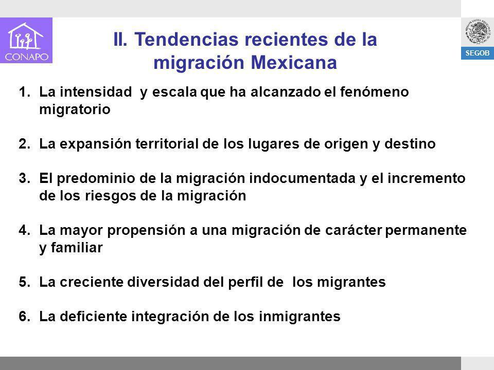 SEGOB 1.La intensidad y escala que ha alcanzado el fenómeno migratorio 2.La expansión territorial de los lugares de origen y destino 3.El predominio d