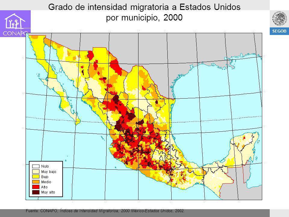 SEGOB Grado de intensidad migratoria a Estados Unidos por municipio, 2000 Fuente: CONAPO, Índices de Intensidad Migratorioa, 2000 México-Estados Unido