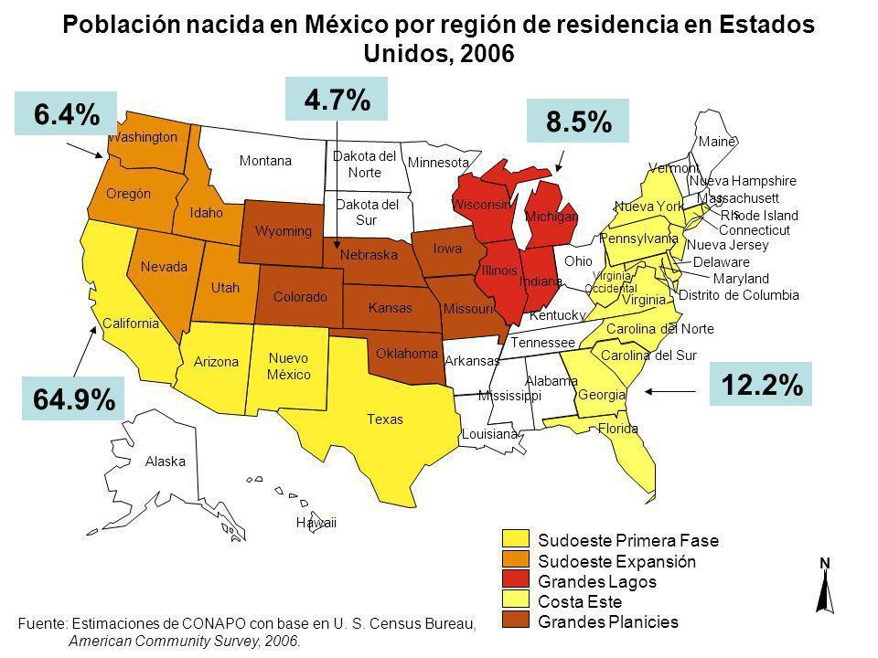 Población nacida en México por región de residencia en Estados Unidos, 2006 Fuente: Estimaciones de CONAPO con base en U. S. Census Bureau, American C