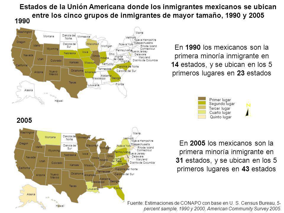 Estados de la Unión Americana donde los inmigrantes mexicanos se ubican entre los cinco grupos de inmigrantes de mayor tamaño, 1990 y 2005 Primer luga