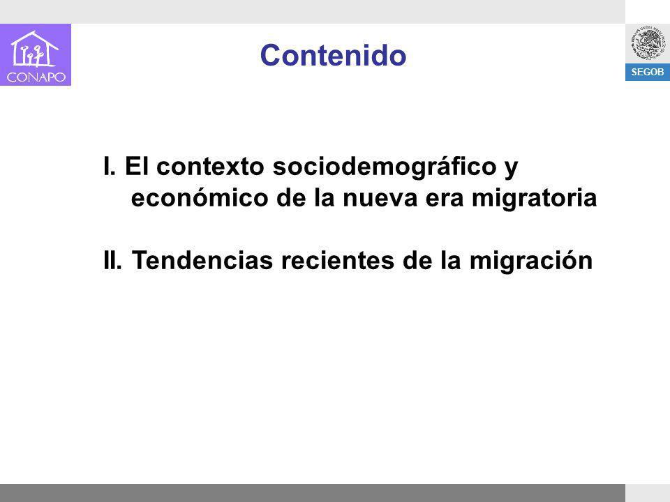 SEGOB I. El contexto sociodemográfico y económico de la nueva era migratoria II. Tendencias recientes de la migración Contenido